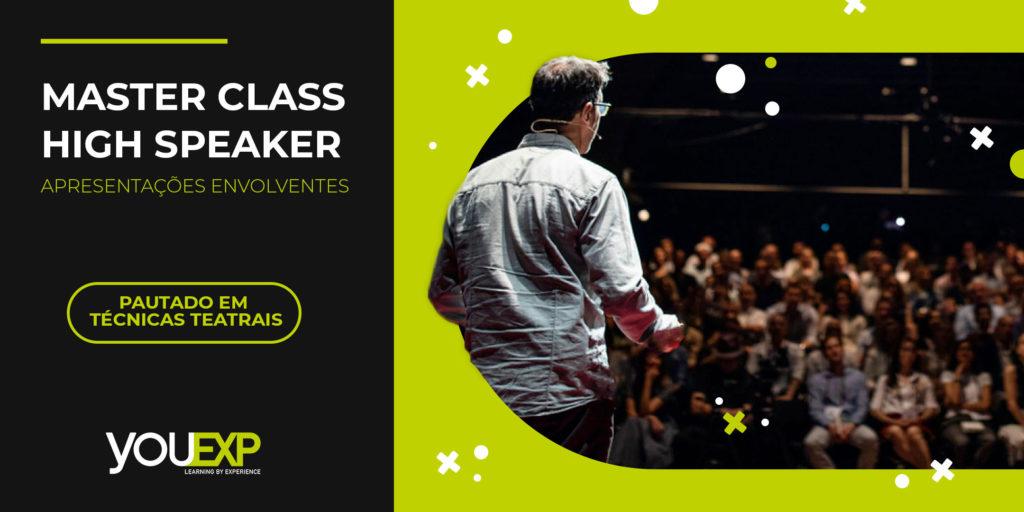 Uma pessoa se apresentando na Master Class High Speaker - Apresentações envolventes